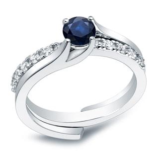 Auriya 14k Gold 2/5ct Blue Sapphire and 3/5ct TDW Round Diamond Bridal Ring Set (H-I, I1-I2)