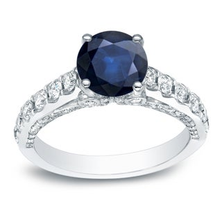 Auriya 14k 1ct Blue Sapphire and 3/4ct TDW Round Diamonds Engagement Ring (H-I, SI1-SI2)