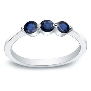 Auriya 10k 3/4ct Round Blue Sapphire Gemstone 3-Stone Wedding Band