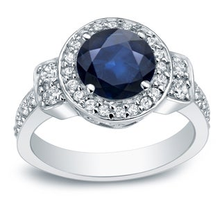Auriya 14k 2ct Blue Sapphire and 3/4ct TDW Round Diamond Halo Engagement Ring (H-I, I2-I3)