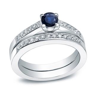 Auriya 14k Gold 2/5ct Blue Sapphire and 3/5ct TDW Round Diamond Bridal Ring Set (I-J, I1-I2)