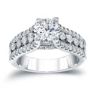 Auriya 14k White Gold 1 1/2ct TDW Round Diamond Engagement Ring (H-I, I1-I2)
