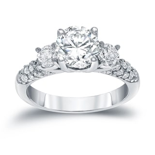 Auriya 14k White Gold 1 3/4ct TDW Round Diamond Engagement Ring (H-I, SI1-SI2)