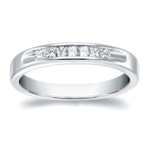 Auriya 18k White Gold 1/3ct TDW Princess Cut Diamonds Channel Wedding Band (H-I, VS1-VS2)