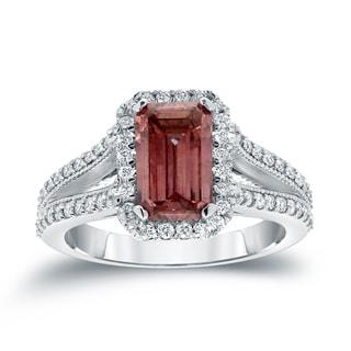 Auriya 18k White Gold 2 3/8ct TDW Pink Diamond Emerald Cut Ring (H-I, SI1-SI2)