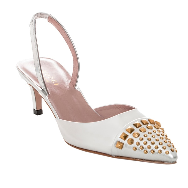 Gucci Studded Metallic Leather Kitten-Heel Slingback Pumps