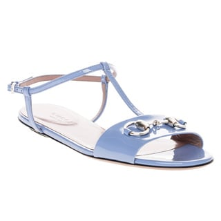 Gucci Patent Leather T-Strap Sandals