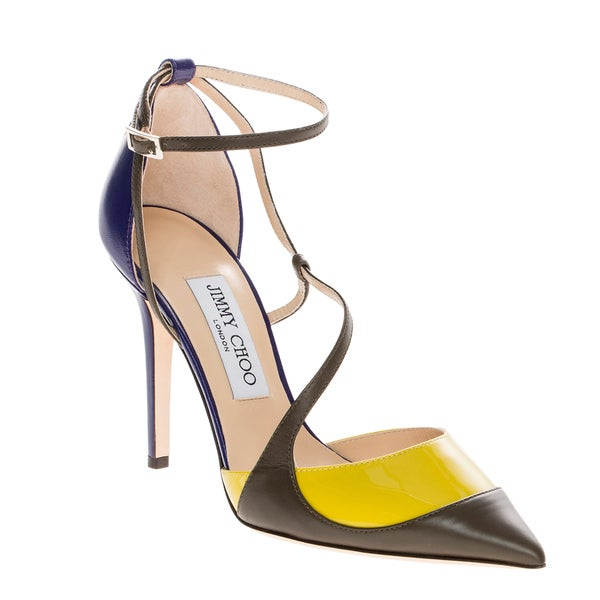 Jimmy Choo Mutya Leather & Patent Ankle Strap Pumps