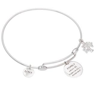 Sterling Silver 1/10ct TDW Diamond Tree of Life Sentiment Adjustable Bracelet (J-K, I2-I3)