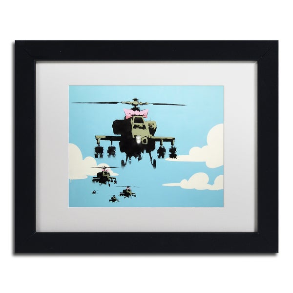 Banksy 'Vapor Helicopter UAV' White Matte, Black Framed Wall Art