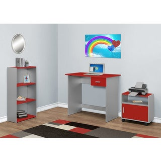 3-piece Red/ Silver Computer Desk with Bookcase and Cart