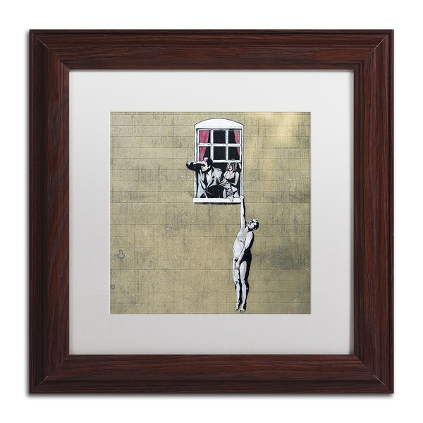 Banksy 'Scandal' White Matte, Wood Framed Wall Art