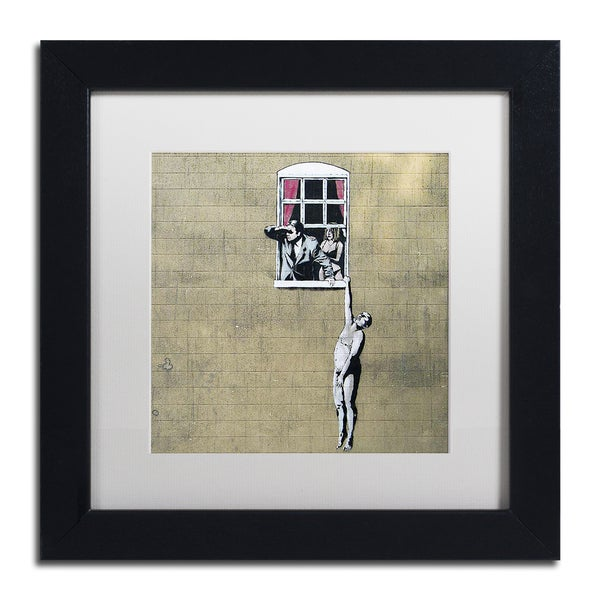 Banksy 'Scandal' White Matte, Black Framed Wall Art