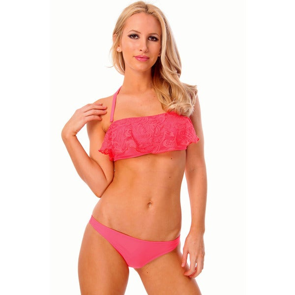 Women's Pink Crochet Lace Bandeau Bra with Removable Straps