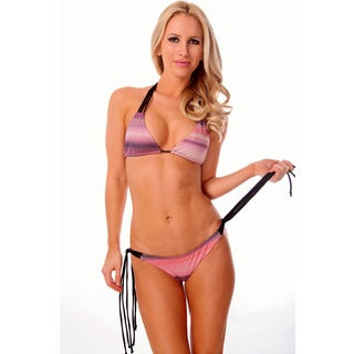 Women's Pink Gradient Seamless Strappy Triangle Bra