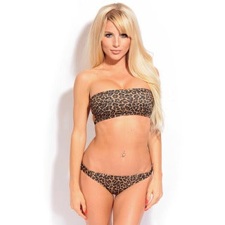 Women's Leopard Print 3 Back Strap Bandeau Bra