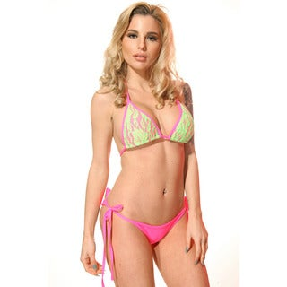 Women's Hot Pink/ Green Triangle Lace Overlay Top