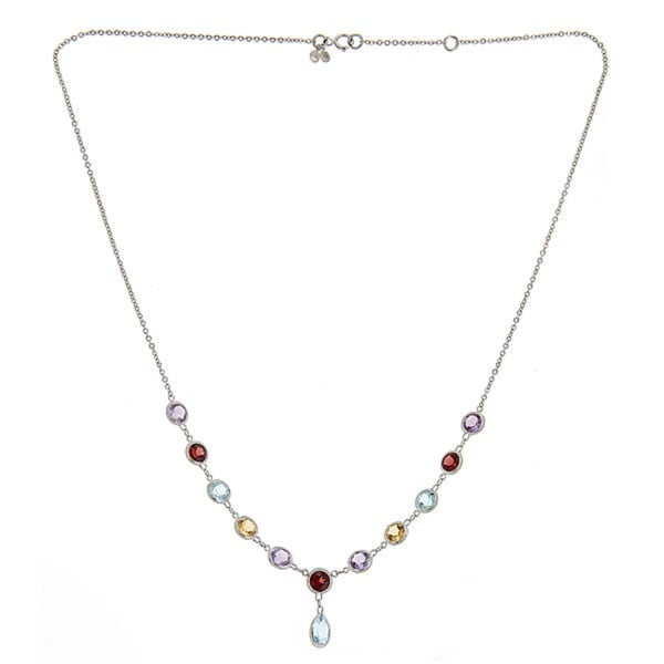 14k White Gold Semi-precious Gemstone Rope Necklace