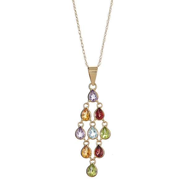 14k Yellow Gold Multi Semi-precious Dangle Necklace