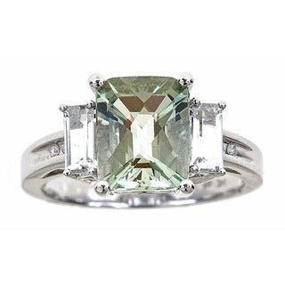 14k White Gold Green Amethyst White Topaz and Diamond Accent Ring