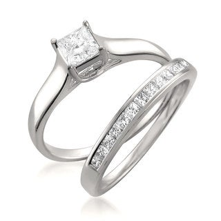 14k White Gold 7/8ct TDW Princess-cut Diamond 2-piece Bridal Set (G-H, VS1-VS2)