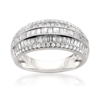14k White Gold 1 1/2ct TDW Multi-Row Pave Diamond Ring (H-I, I1)