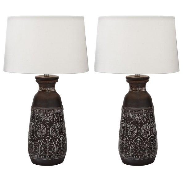 Mumbai Artisan Hand-crafted Unglazed Ceramic Table Lamps (Set of 2)