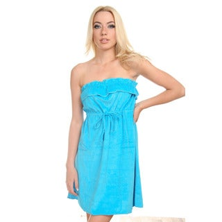 Women's Blue Strapless One-piece Towel Fabric Coverup