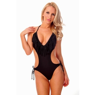 Women's Black Fringe Plunge V-neck Monokini with Removable Soft Cups