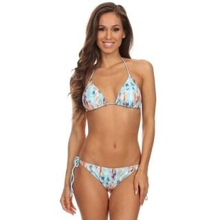 Women's Blue Multi Triangle Bikini Bra