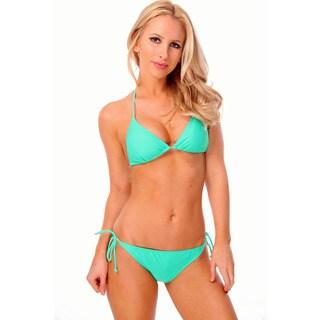 Women's Solid Green Triangle Bikini Bra