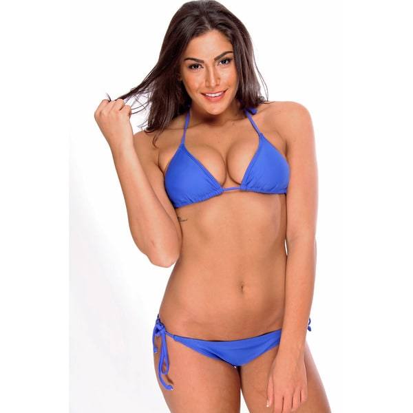 Women's Blue Triangle Bikini Bra