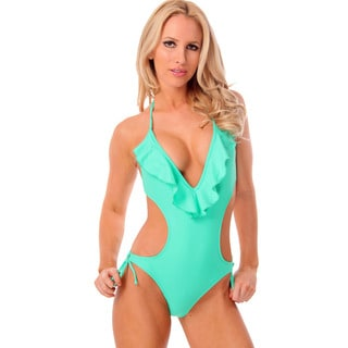 Women's Mint Plunge V-neck Monokini with Ruffles