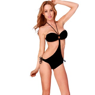 Women's Black Ruched Bandeau Top and Gold O-ring Hardware