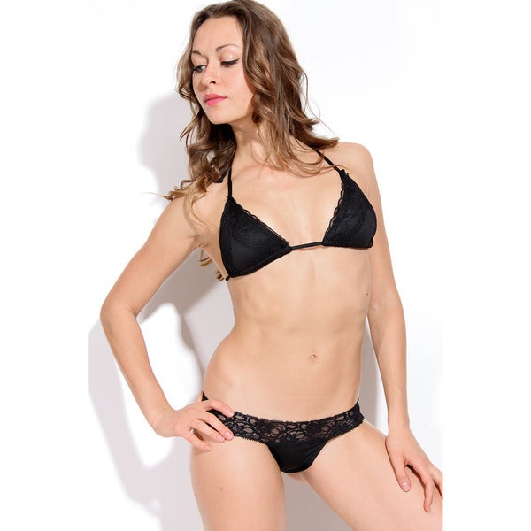 Women's Black Stretch Lace Triangle Bra