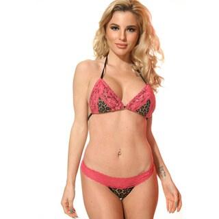 Women's Leopard Print Pink Stretch Lace Triangle Bra