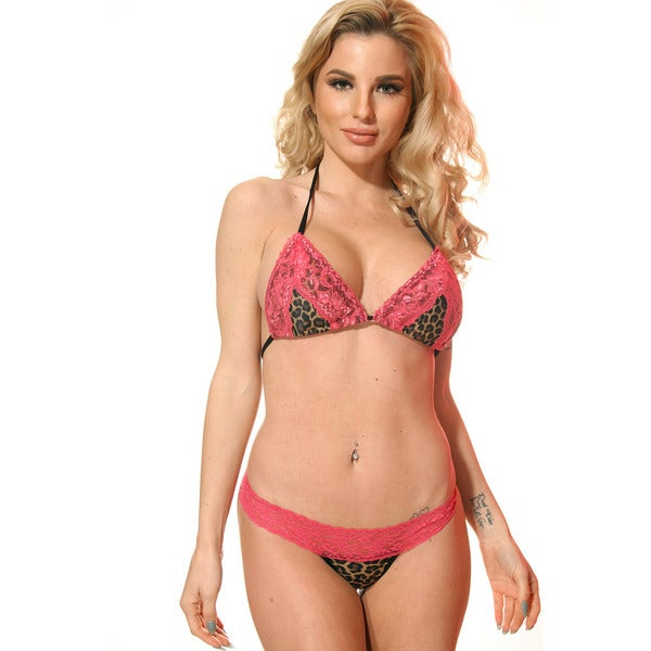 Women's Leopard Print Pink Stretch Lace Triangle Bra