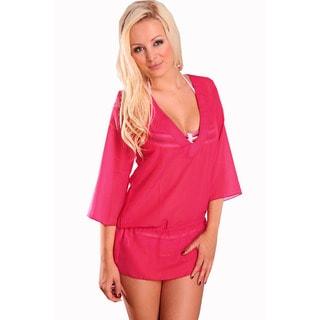 Women's Sheer Chiffon Hot Pink V-neck Tunic with Waist Drawstring