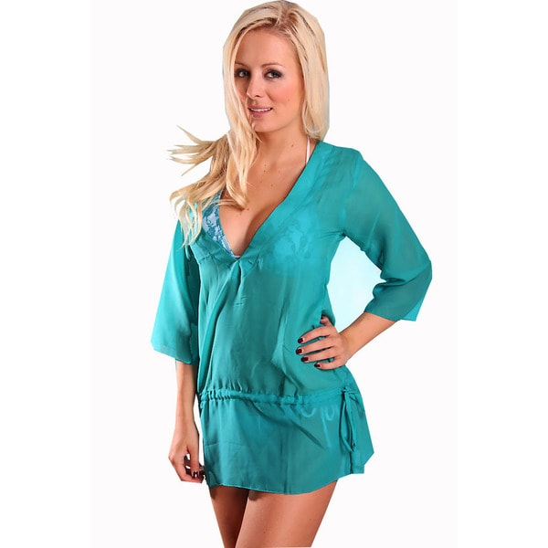 Women's Sheer Chiffon Green V-neck Tunic with Waist Drawstring