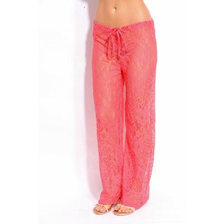 Women's Pink Lace Coverup Pants