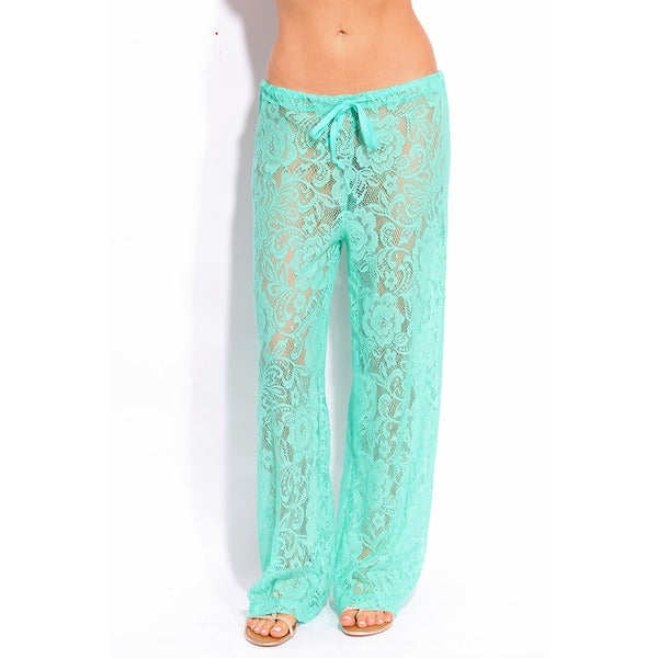 Women's Mint Lace Coverup Pants