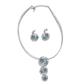 Handmade Beads Delicate Silver and Blue Flower Necklace-earrings Set in Stainless Steel with Butterfly Design