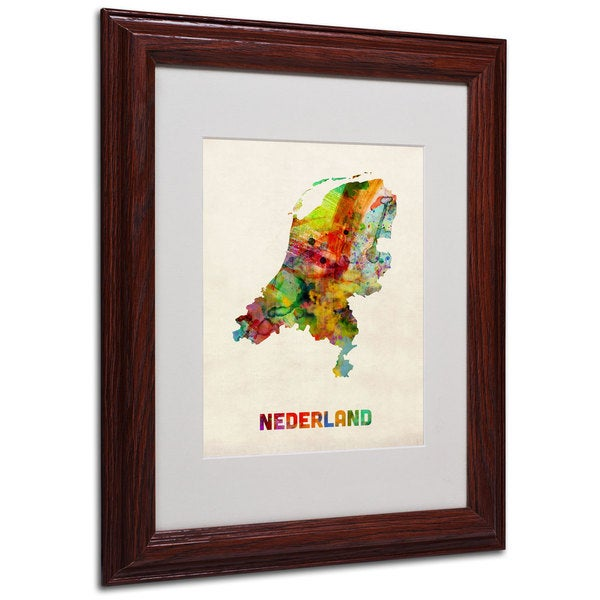 Michael Tompsett 'Netherlands Map' White Matte, Wood Framed Wall Art
