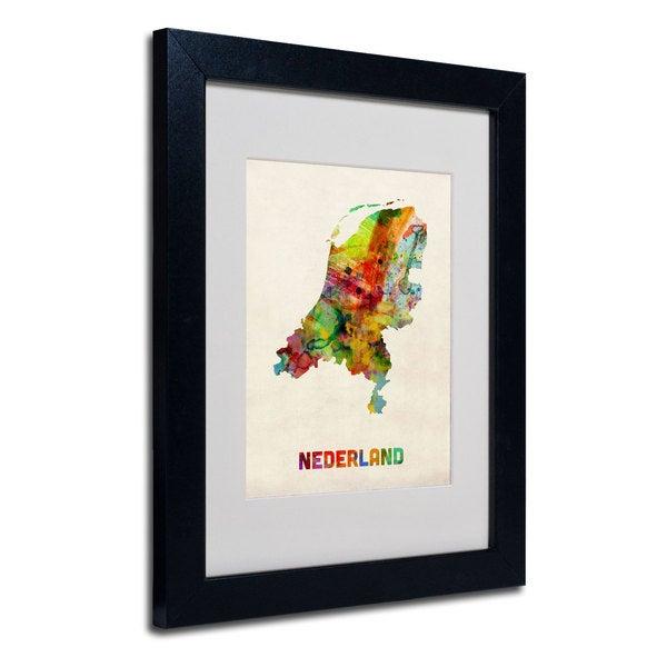 Michael Tompsett 'Netherlands Map' White Matte, Black Framed Wall Art