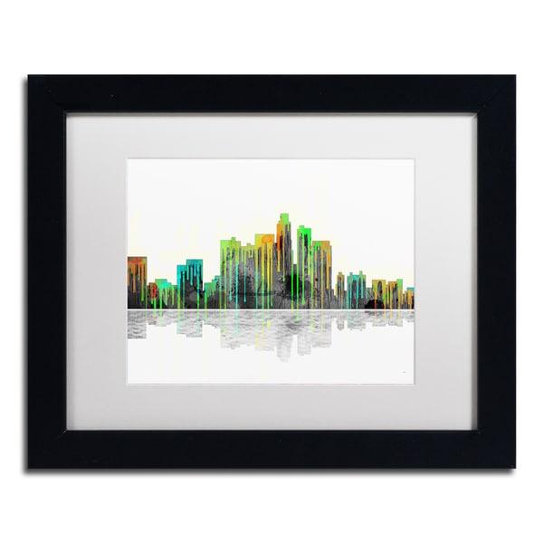 Marlene Watson 'Los Angeles California Skyline' White Matte, Black Framed Wall Art
