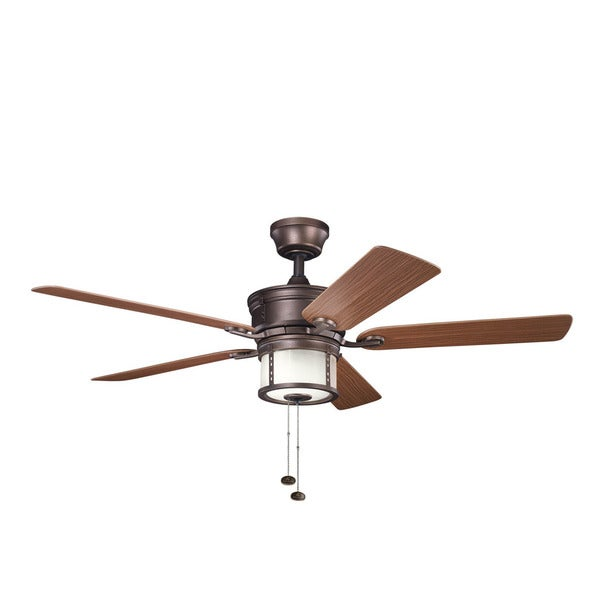 Kichler Lighting Deckard Collection 52-inch Weathered Copper Outdoor Ceiling Fan w/Light