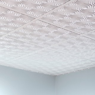 Fasade Cyclone Gloss White 2' x 2' Lay-in Ceiling Tile