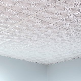 Fasade Cyclone Matte White 2' x 2' Lay-in Ceiling Tile