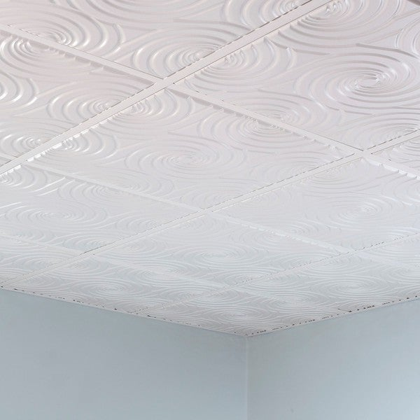 Fasade Typhoon Gloss White 2u0026#39; x 2u0026#39; Lay-in Ceiling Tile - 17567075 - Overstock.com Shopping - Big ...