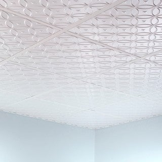 Fasade Rings Matte White 2' x 2' Lay-in Ceiling Tile